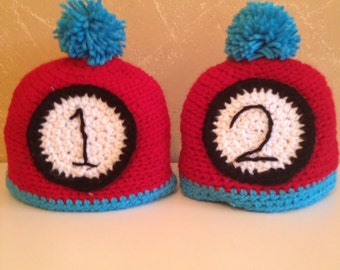 Crochet Thing 1 and Thing 2 Beanies