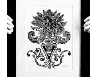 Henna Lotus Print
