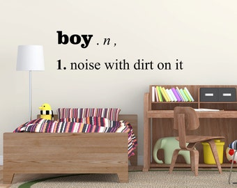 Boy, noise with dirt on it dictionary style wall art sticker decal for boys, kids bedroom , play room