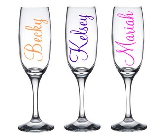 1 Personalized champagne glass, Custom Champagne Glasses, Bridesmaid Champagne Glass