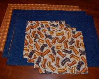 Handmade Retro Western Cowboy Napkin and Placemat (Set of Four of each) FREE SHIPPING