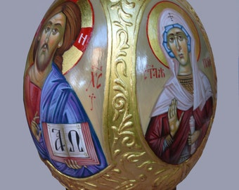 Easter gifts etsy hand painted ostrich egg egg icon easter gift orthodox gifts orthodox icon negle Images