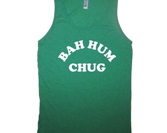 tank top bah hum chug christmas shirt sleeveless xmas in july idea stocking stuffer mens womens guys ladies funny bah hum bug beer party new