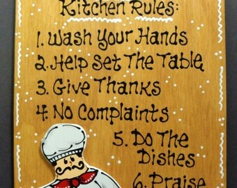 Stained Fat Chef Sign Mom S Kitchen Rules Plaque Wall Decor Country Wood Crafts Bistro Cucino