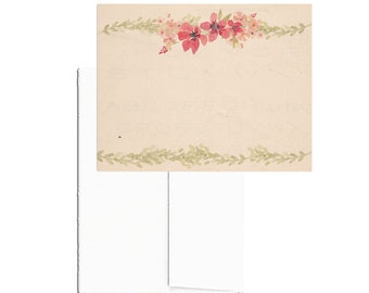 24 PRINTED Note Cards with Envelopes, Vintage Floral