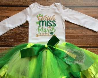 St Patricks Day Tutu Set Baby Onesie Little Miss March Onesie Shirt Green Gold Glitter Onesie Funny Shirt Personalized Onesie Birthday Shirt