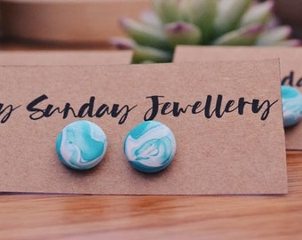 Green Marble - Polymer Clay Studs