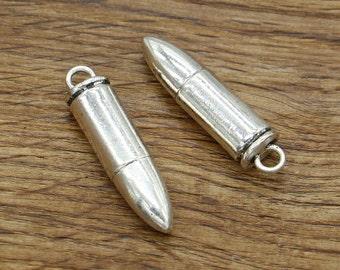 3pcs Large Bullet Charms Pendant Antique Silver Tone 3D Gun Charm 35x9mm 2012