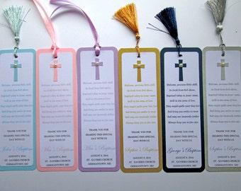 20 Personalized Baptism Favors, Christening Favors, First Communion Favors, Baptism Bookmarks, Baptism Decorations,  Baptism Gift