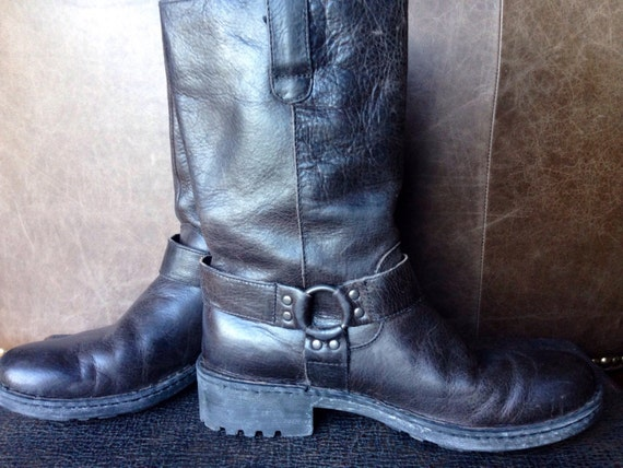 born black leather motorcycle boots m 8 5 42