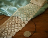"French Antique cotton lace 2 7/8"" wide beautiful pattern  hand done"