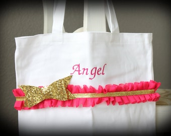 Girls Personalized Bow Tote Bag / Bow Bag / Girls Tote / Hot Pink and Gold / Birthday Bag / Bow Gift Bag / Dance Bag / Girls Monogrammed Bag