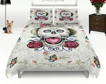 sugar skull bedding duvet cover set
