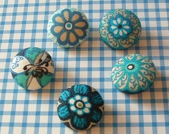 Set of 5 floral fabric covered Sewing Buttons