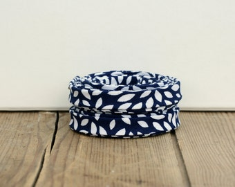 """1/2"""" or 3/8"""" Double Fold Bias Tape: Navy and White Petals"""