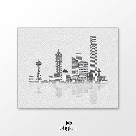 Line Drawing City : Seattle skyline art printable hand drawn city illustration