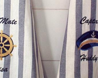 Nautical Tea Towels 2 Embroidered Towels Personalized Towel Nautical Gift  Boat Gift Nautical Kitchen Nautical Hostess