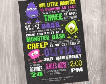 Monster invitation, girl monster invitation, little monster invitation, chalkboard, monster party, printable invitation, digital