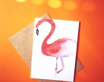 Flamingo hand made, blank greeting card