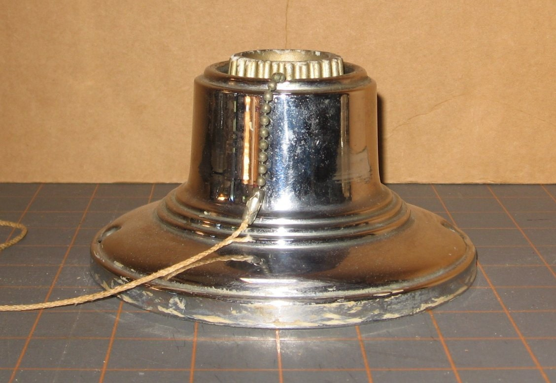 Chrome Art Deco Ceiling Fixture With Pull Chain Porcelain