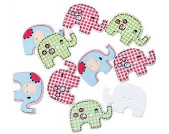 Elephant Wooden Button (set of 4)
