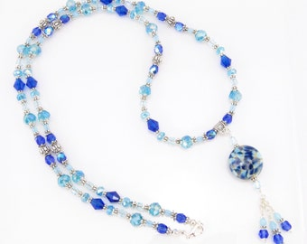 Arctic Blue Lampwork Pendant Necklace, Blue Beaded Necklace with Lampwork Glass Pendant, SRA Lampwork Focal Bead, Artisan Lampwork Beads