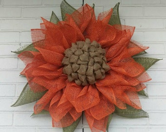 Orange Poly Burlap Fall Sunflower Wreath with Olive Leaves