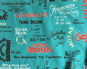 Half yard- Mrs March's Collection-Retro Pop-Printed by LECIEN - Big text prints in Turquoise Background