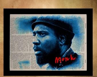 Weekend SALE Thelonious Monk Portrait Dictionary Art Print, Jazz Piano Music Blue Home Decor Wall Art Jazz Decor da331