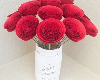 Paper flowers Stemmed - Red - Wedding - Home Decor - Baby Shower - Birthday Gift - Paper Anniversary - Red Roses - Table Centerpieces
