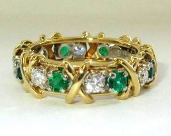 SALE!!! TIFFANY & Co. 18K Gold Platinum Jean Schlumberger VVS, E-F Diamond Emerald 16 Stone X Love Ring 6