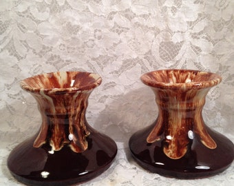 Brown Drip Glazed Taper Candle Holder Pair, Drippy Brown and Cream on Terra Cotta Base.
