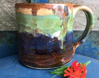 13 Ounce - Textured Mug - Rustic Earthy Landscape - Wheelthrown Pottery