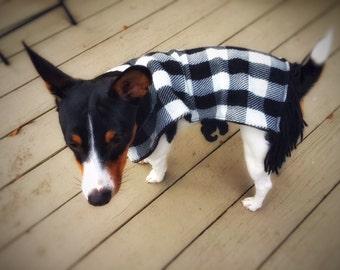 Upcycled Dog Poncho Dachshund Reversible Black & White Unique Handmade Recycled Handmade Dog Cloth Eco-Friendly