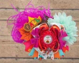 Thanksgiving hair bow - Fall Hair bow - Autumn hair bow - Fall hair clip - Flower hair bow - Leaf hair bow - Feather hair bow - big hair bow