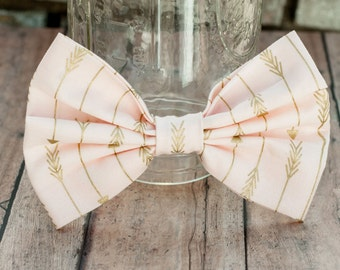 Gold Arrows - Fabric hair bow - light pink hair bow - Vintage hair bow - Fabric Bow - Pink Bow Tie - Pink Hair Clip - Golden Arrows - Pink