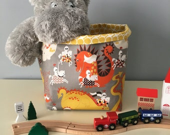 Drogons and Knights Fabric Basket or Fabric Bin - great for toy or clothes storage