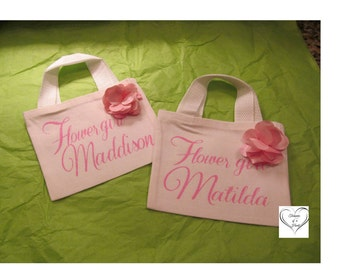Flower Girl Pink and White Mini Tote, Pink and White Birthday Favor Gift Bags