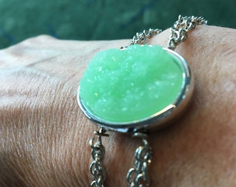Jade with silver setting