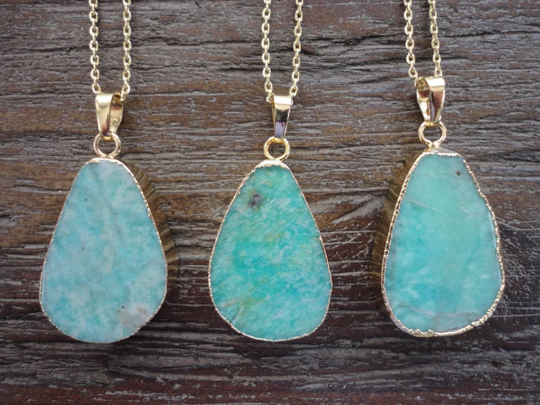 Amazonite Gold Pendant Necklace/Raw Amazonite Slice/Aquamarine/Seafoam/