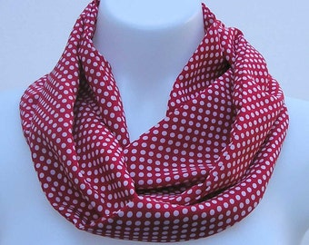 Red Infinity scarf, spotted scarf, upcycled scarf, red white spots scarf, red scarf, refashioned scarf, boho scarf, fabric scarf, summer