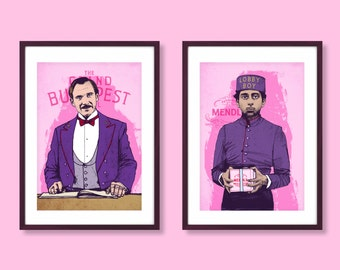 M. Gustave and Lobby Boy portrait prints, Wes Anderson inspired prints, Wes Anderson print, The Grand Budapest Hotel, Wes Anderson poster