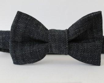Dark blue denim bow tie, baby, boy, adjustable velcro closure