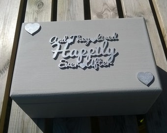 And they lived Happily ever after Pale French Grey and Silver keepsake memory box