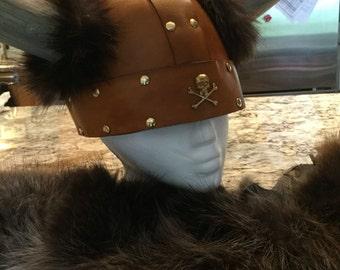 """Leather Horned Viking Helmet/Hat Small 22 3/4"""""""
