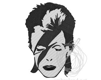 David Bowie - Machine Embroidery Design - Instant Download - Five sizes
