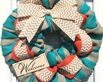 Teal, Coral Chevron Burlap Wreath, Welcome Wreath, Office Wreath, Front Door Wreath, Home Decor Wreath, Gift Idea