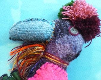 Hand made felt bird from Chiapas, Mexico