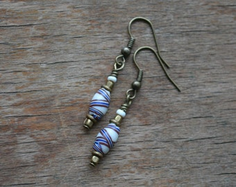 Trade bead earrings with antique Venetian fancy beads and Kenyan brass