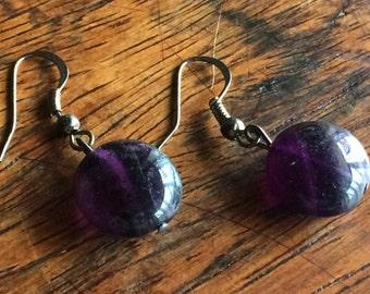 3935 - Purple fluorite Earrings